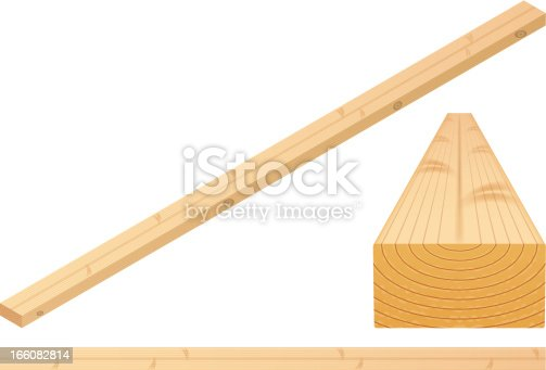 A 2x4 piece of wood in isometric view, 3D, and top view. Illustration contain transparencies and is saved as Illustrator 10 format.