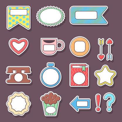 Planner and diary stickers vector cartoon set isolated on background.