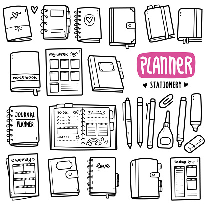 Planner and Stationery Doodle Illustration