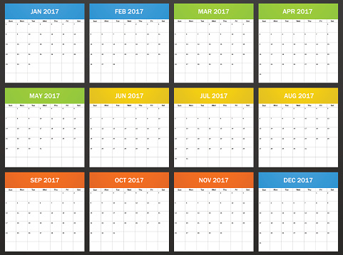 USA Planner blank for 2017.  Week starts on Sunday