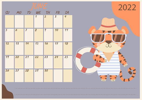 Planner calendar for June 2022. Cute tiger cub in sunglasses, striped swimsuit, beach hat and lifebuoy. Year of the Tiger in Chinese or oriental. Vector illustration. Horizontal template