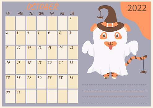 Planner calendar for October 2022. Cute ghost tiger in a hat with spiders at, Halloween holiday. Year of the Tiger in Chinese or oriental. Vector illustration. Horizontal template
