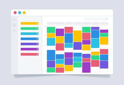 Business calendar scheduling planner meetings browser webpage internet layout UI UX design.