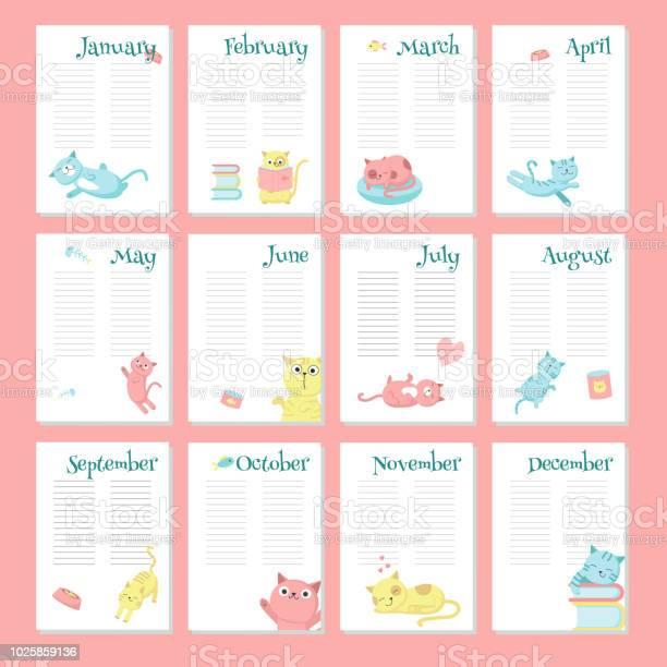 Planner calendar vector template with cute cats vector id1025859136?b=1&k=6&m=1025859136&s=612x612&h=a9pl9mfqawgoj zfldhszhvr7gyfuxh82omyaih6jjk=