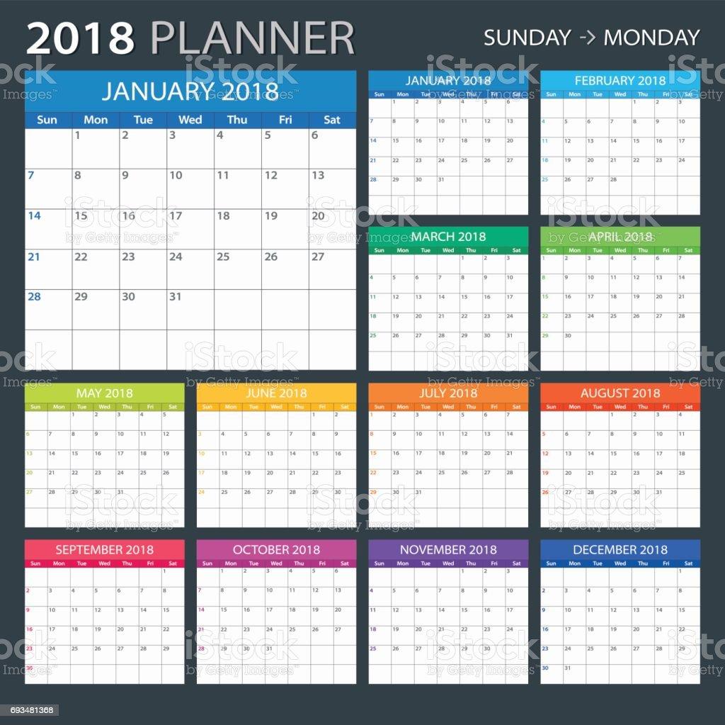 Planificateur de 2018 - illustration - Illustration vectorielle