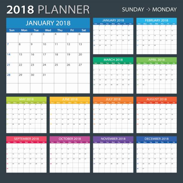2018-planer - abbildung - kalendervorlage stock-grafiken, -clipart, -cartoons und -symbole