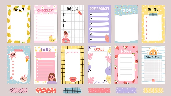 Planner list notes. Weekly to do lists and daily schedule with stickers and cute patterns. Checklist for goals and plans template vector set
