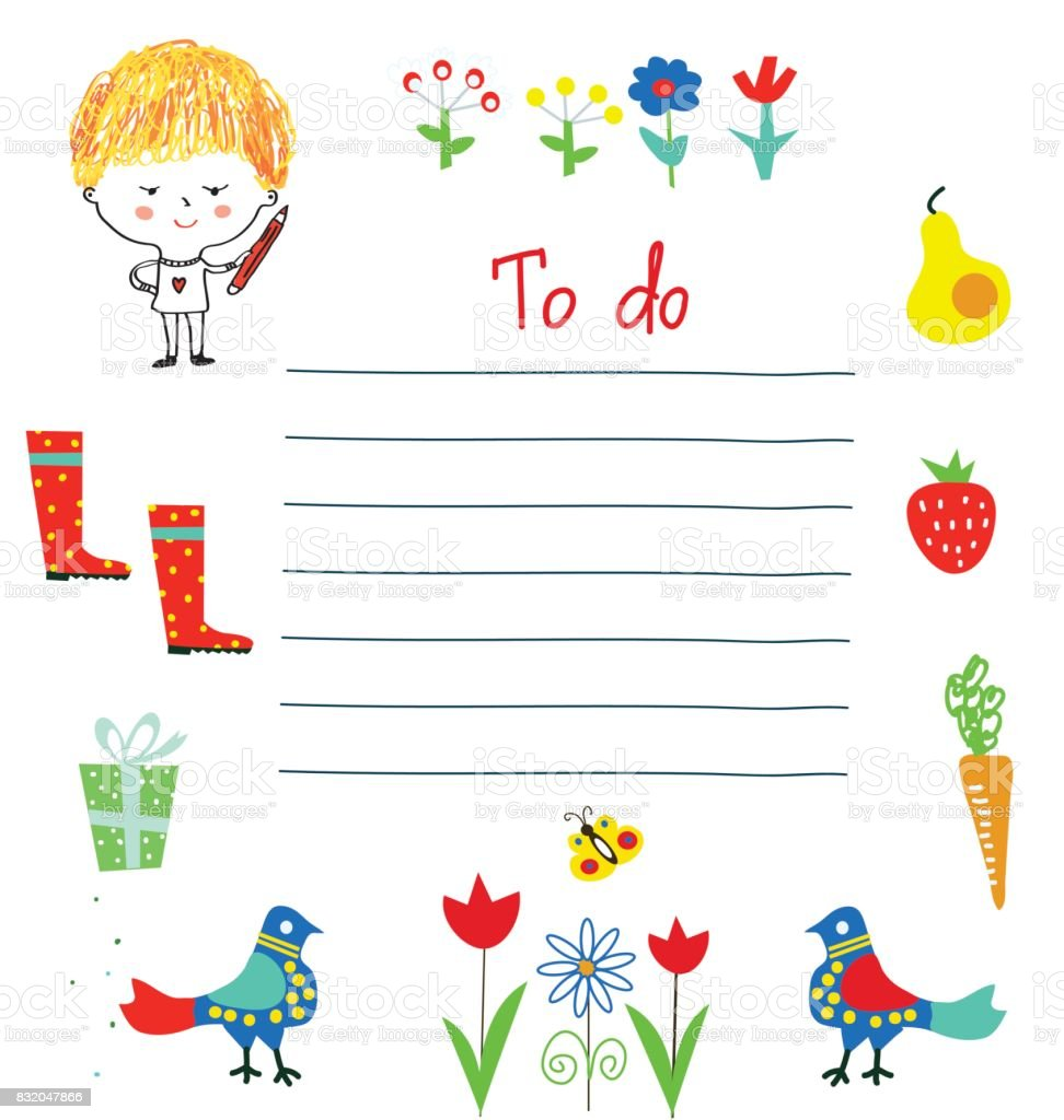 Planner Or To Do List For The Kids With Funny Design Vector