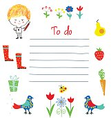 Planner or to do list for the kids with funny design, vector illustration