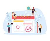 Planner schedule organizer concept. Vector flat cartoon graphic design