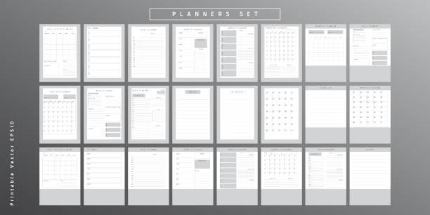 Planner sheet vector Set of minimalist monochrome abstract planners. Daily, weekly, monthly planner template. Blank printable vertical notebook page with space for notes and goals.  Business organizer. Paper sheet size A4. agenda stock illustrations