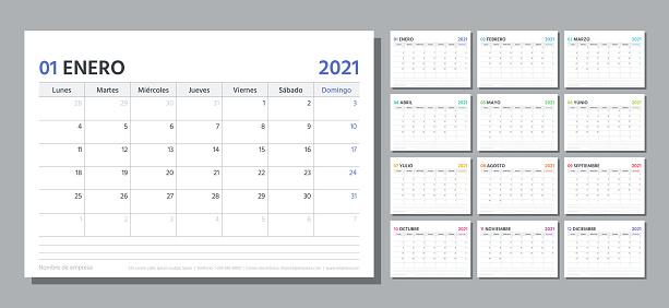 2021 planner. Spanish calendar template. Vector illustration. Table schedule grid.