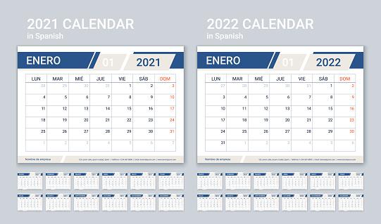 2022 planner. Spanish calendar template. Vector illustration. Table schedule grid.