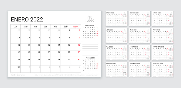 2022 planner. Spanish calendar template. Vector illustration. Yearly grid of calender.