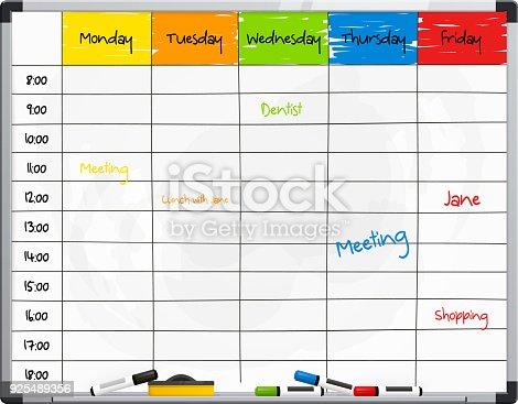 Planervorlage Auf Whiteboard Mit Farbe Filzstifte Vektor Stock ...