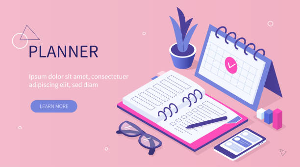 planner Planner concept. Can use for web banner, infographics, hero images. Flat isometric vector illustration isolated on white background. agenda stock illustrations