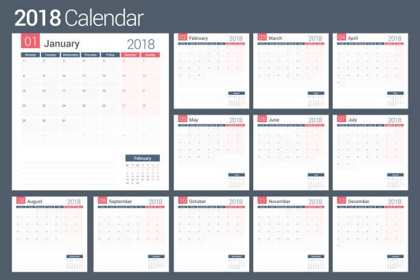 2018-planer - monatskalender stock-grafiken, -clipart, -cartoons und -symbole
