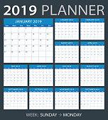 2019 calendar planner - Sunday to Monday