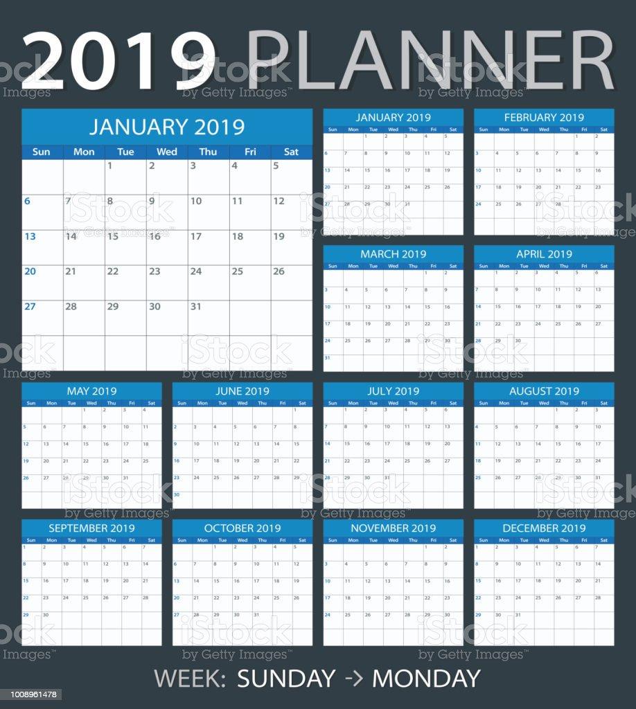 2019 Planner - vector illustration vector art illustration