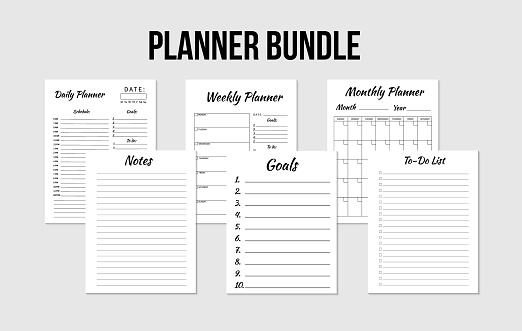 Planners bundle: daily, weekly,  monthly planner,  to-do list,  goals, notes template. Blank notebook page isolated on grey. Business organizer paper sheet. Realistic vector illustration.