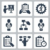Planning and business strategy vector icons set