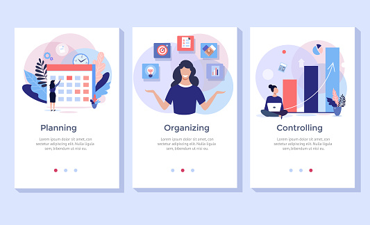 Planning and organizing concept illustration set.