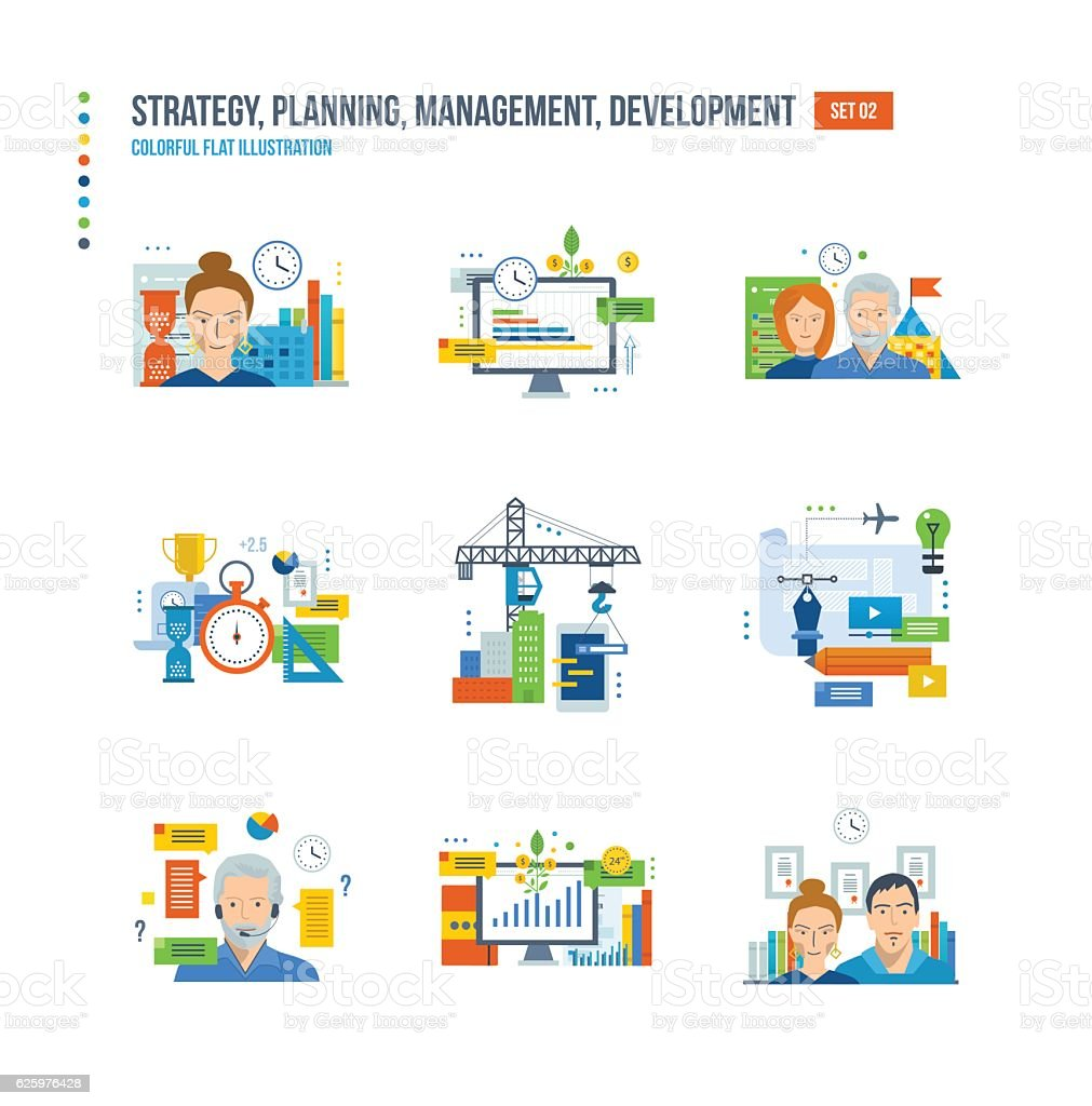 Time Management And Technology: Vetor De Planning And Strategy Finance Investment Teamwork