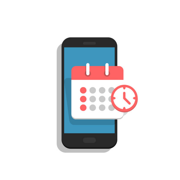 Planning app on smartphone screen. Calendar, schedule, appointment, concept. Vector illustration in flat style. retail equipment stock illustrations