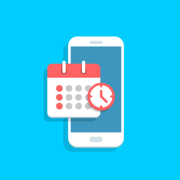 illustrazioni stock, clip art, cartoni animati e icone di tendenza di planning app on smartphone screen. - banchi scuola