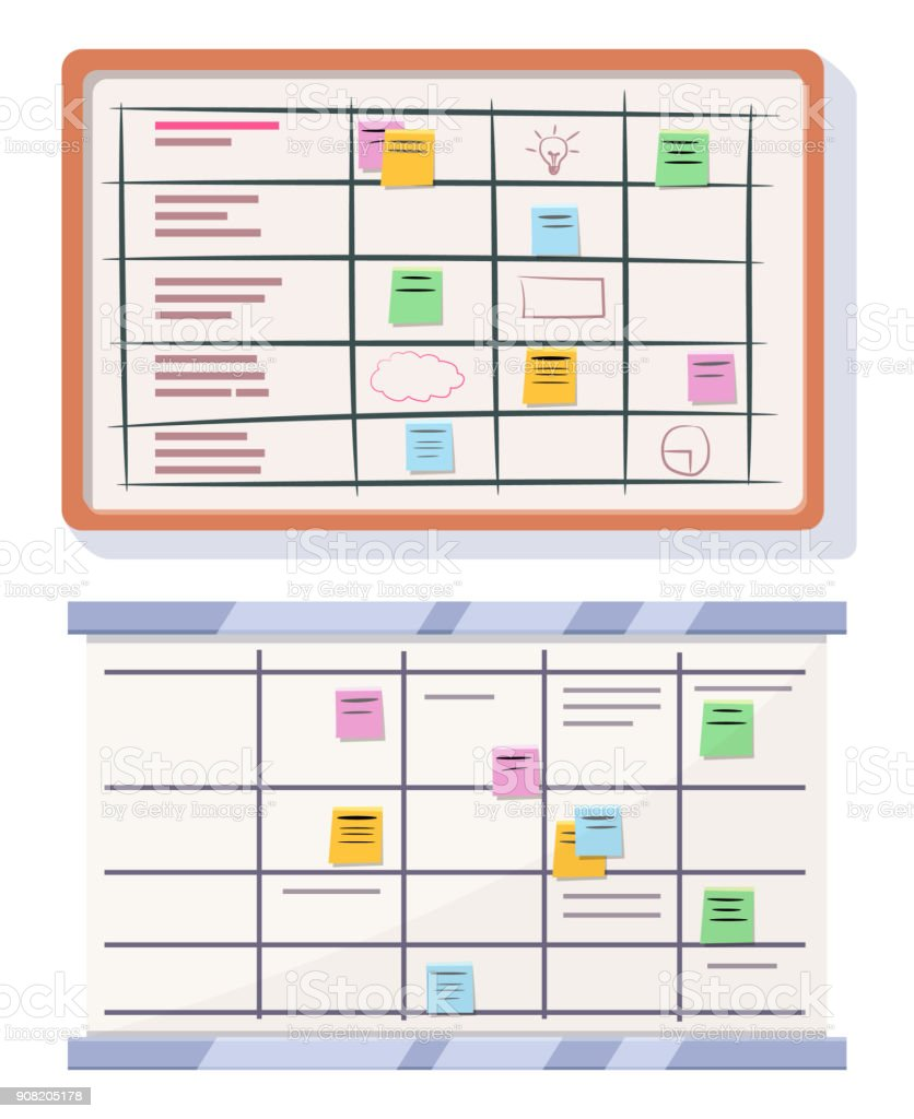 Planning board with sticky notes vector art illustration