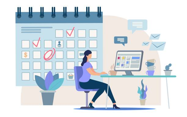Planning Business Tasks for Month Vector Concept Planning Business Activity, Time Management Flat Vector Concept Businesswoman, Female Office Worker, Company Employee Sitting at Work Desk, Making Tasks and Meetings Reminders in Calendar Illustration chores stock illustrations