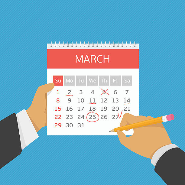 Planning calendar in hand. Hand with pencil mark calendar. Week started on Sunday. Important event. Flat style concept for web banners, web sites, printed materials, infographics. Modern vector illustration. Organizer. holiday calendars stock illustrations