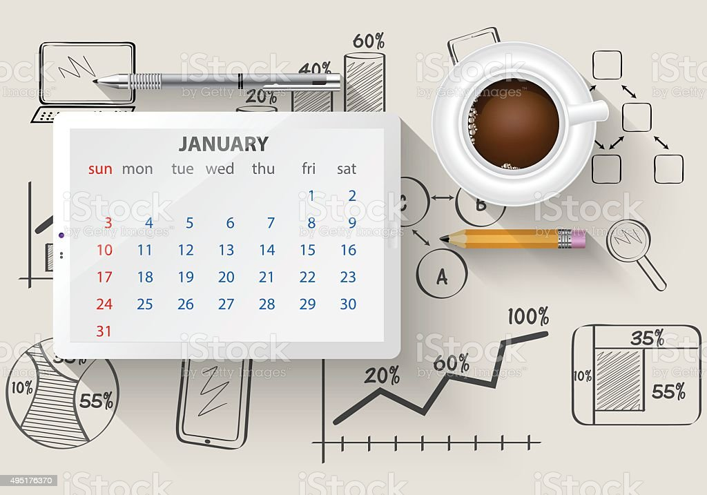 Planning calendar in the computer tablet vector art illustration