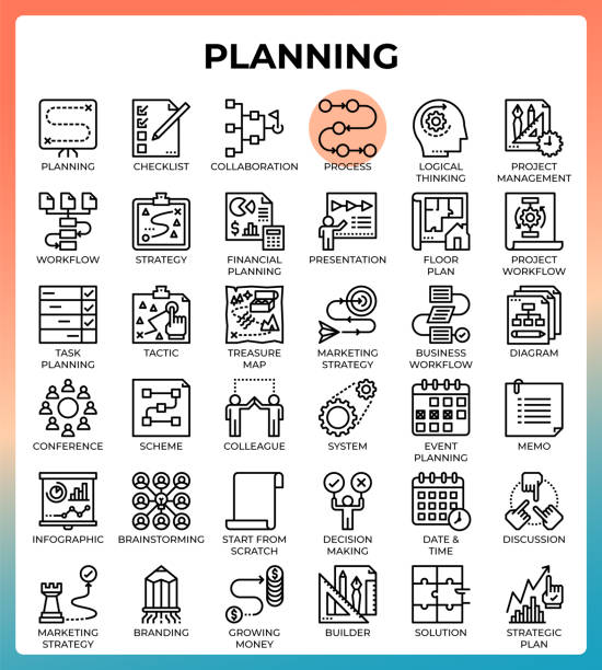 Planning concept icon set vector art illustration