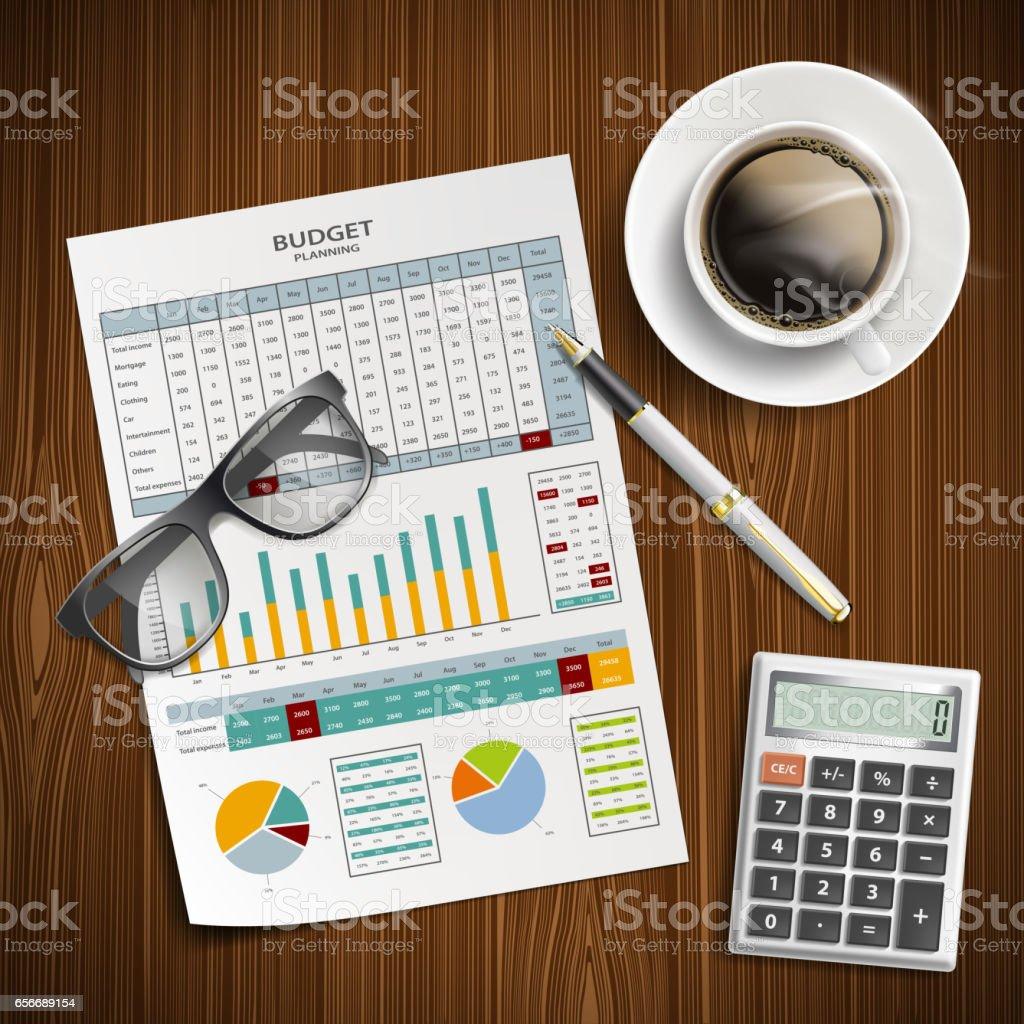 Planning family budget. Financial document vector art illustration