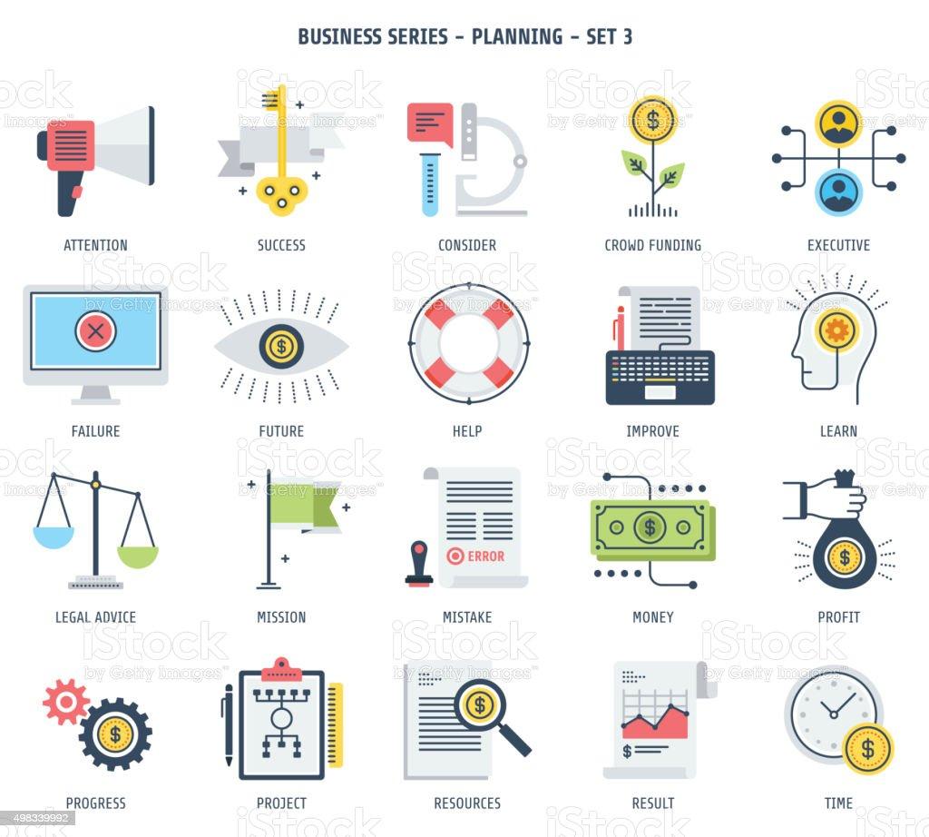 Conjunto de ícones de planejamento - ilustração de arte em vetor