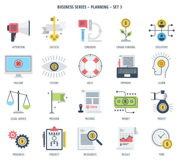 ilustrações, clipart, desenhos animados e ícones de conjunto de ícones de planejamento - assistente jurídico