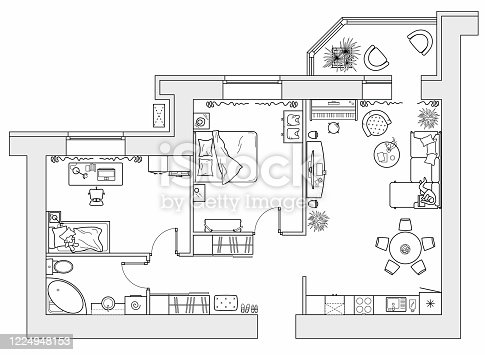Floor plan from above. Planning of the apartment with arrangement furniture. Architectural drawing of the house (top view). Interior design. Vector layout