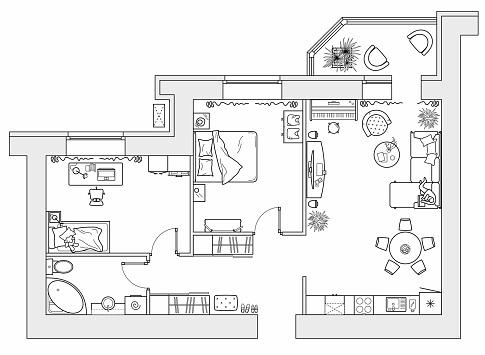 Planning of the apartment with arrangement furniture. Architectural drawing of the house (top view). Interior design  floor plan from above. Vector