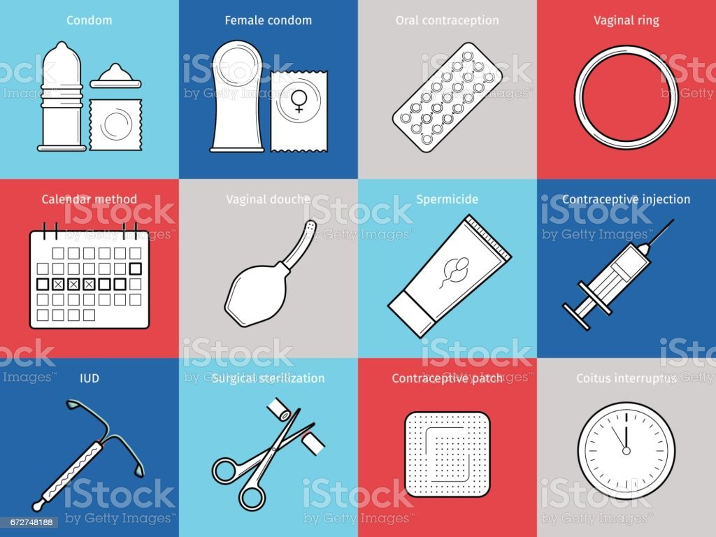 Planning pregnancy and birth control. vector art illustration