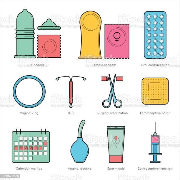 Planung Schwangerschaft Und Geburt Kontrolle Stock Vektor Art und mehr Bilder von Antibabypille