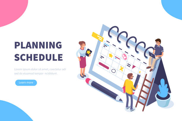 illustrazioni stock, clip art, cartoni animati e icone di tendenza di planning schedule - project