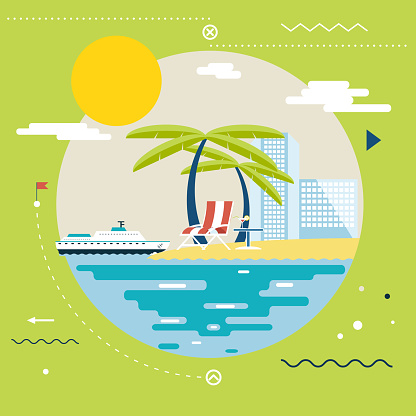 Planning Summer Vacation, Tourism and Journey Symbol Ocean Sea Travel