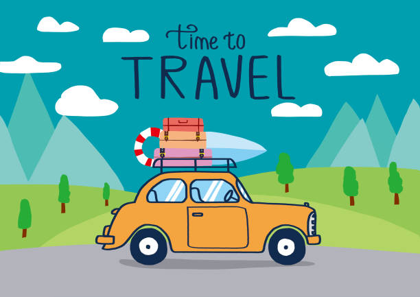 planning summer vacations, travel by car , world travel, summer holiday,tourism and vacation theme. - road trip stock illustrations