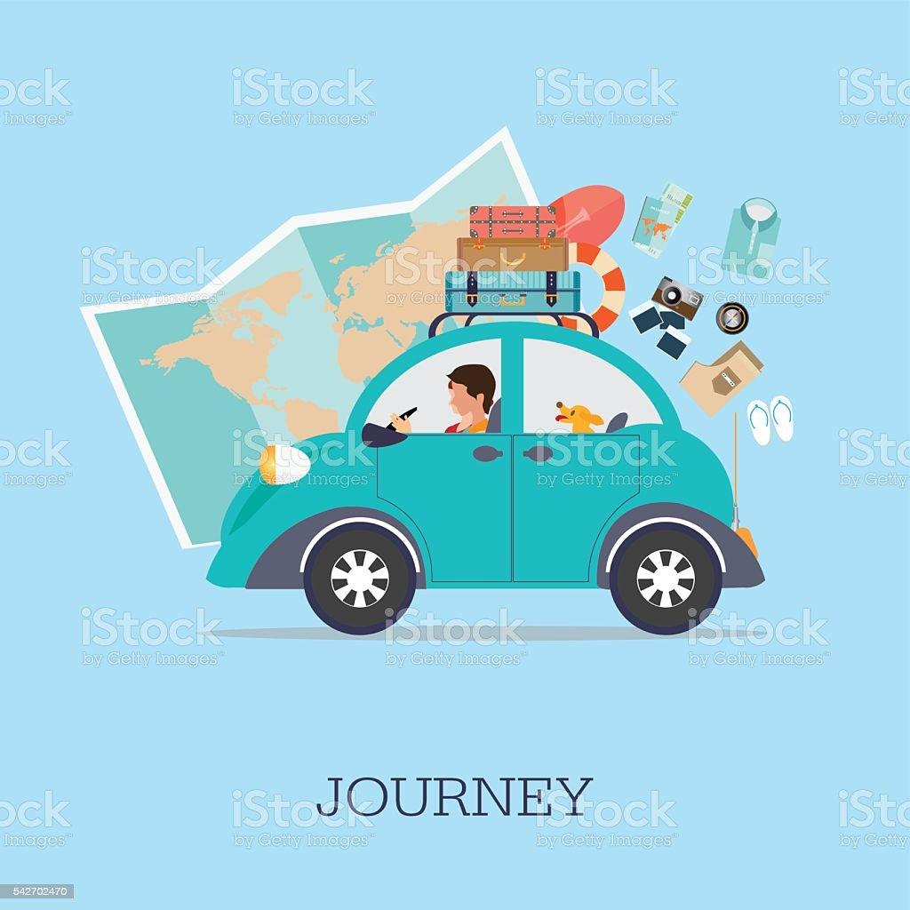 Planning summer vacations vector art illustration