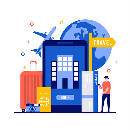 Planning vacation, booking online service concepts with character. Tourist purchasing tickets in internet for traveling, holiday. Modern flat style for landing page, mobile app, hero images.
