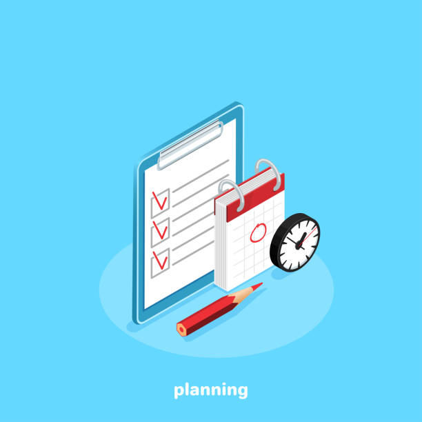 planning a tablet next to the calendar and a clock on a blue background, an isometric image holiday calendars stock illustrations