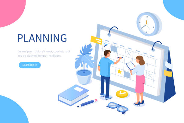 planning Planning schedule and calendar concept. Can use for web banner, infographics, hero images. Flat isometric vector illustration isolated on white background. agenda stock illustrations