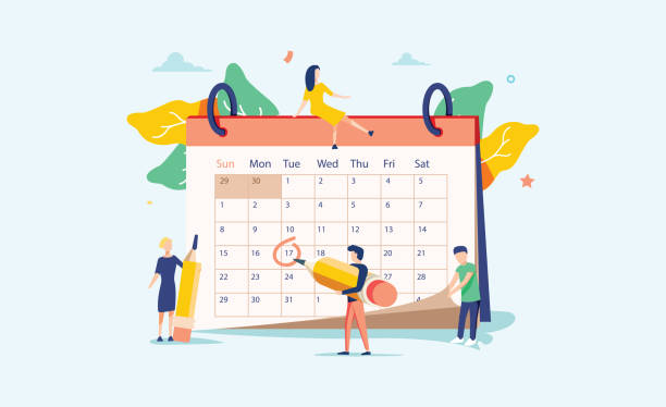 Die Planung der Vektorabbildung. Flache Mini-Personen-Konzept mit Zeitplan Kalender. System, um den Alltag zu organisieren. – Vektorgrafik