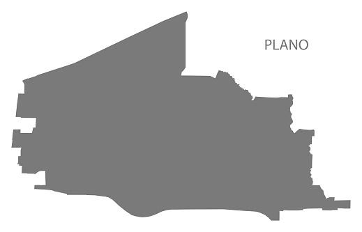 Plano Texas city map grey illustration silhouette shape
